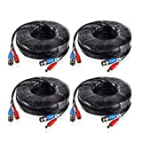 SANNCE 100 Feet (30 meters) 2-In-1 Video/Power Cable with BNC Connectors and RCA Adapters for Video Security Systems (4-Pack, Black)