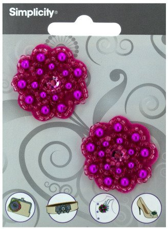 2-Pack Of Bright Pink-Beaded Flower Accessories front-1040288