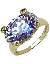 Suraabi 6.50CTW Purple Cubic Zirconia & Yellow Cubic Zirconia 14K Yellow Gold Plated Brass Ring For Women