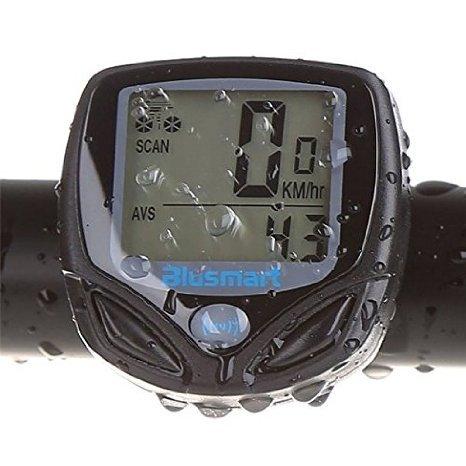 Blusmart Wireless Bike Speedometer Multi-functions with Clock Stopwatch Thermometer Waterproof Odometer of Big LCD Display Backlight