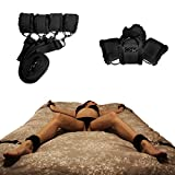 Under Bed Restraints for Sex with Adjustable Straps (Furry) - Black by HappyNHealthy
