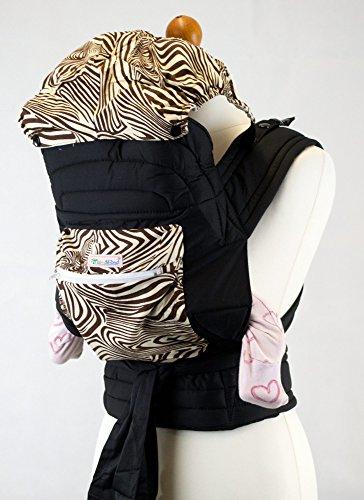 palm-and-pond-mei-tai-babytrage-mit-kapuze-und-tasche-braun-zebra-design