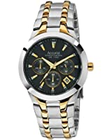 Accurist Men's Quartz Watch with Black Dial Chronograph Display and Multicolour Stainless Steel Plated Bracelet MB1059B
