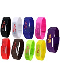 Unisex Multicolor Set Of 9 Digital Rubber Jelly Slim Silicone Sports Led Smart Band Watch For Boys, Girls, Men...