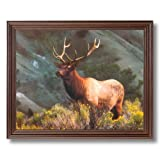 Elk Big Antler Rack On Mountain Animal Wildlife Home Decor Wall Picture Cherry Framed Art Print