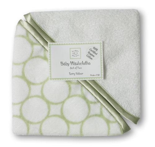 Swaddledesigns Organic Cotton Baby Washcloths, Mod Circles, Set Of 2 In Kiwi