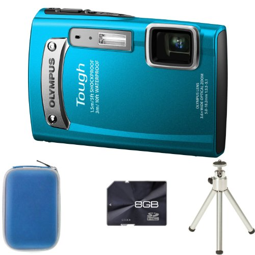 Olympus TG-320 - Blue + Case + 8GB Memory Card and Tripod (14MP Black Friday & Cyber Monday 2014