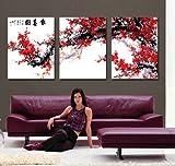 art de toile Prune rouge fleur Copie d'art sur toile moderne maison et le bureau Decoration Murale Peinture Art Non encadree non etire...