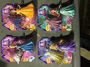 Disney Princess Little Kingdom MagiClip Doll Set of 4 - Belle, Ariel, Rapunzel & Cinderella
