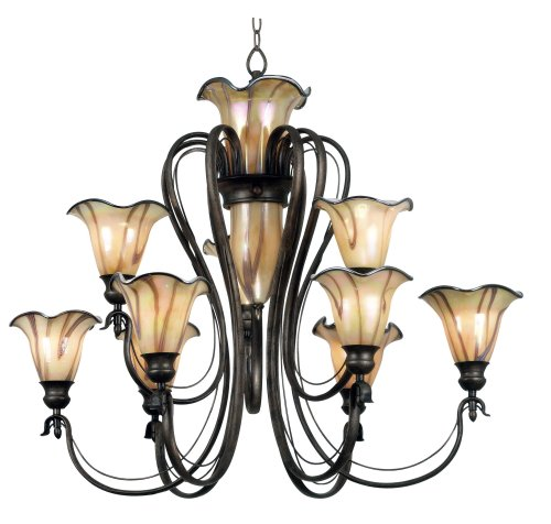 B000PRLNCW Kenroy Home 90899TS Inverness Ten-Light Chandelier, Tuscan Silver with Chrome Swirl Globes