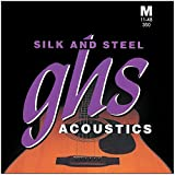 GHS Strings 350 Silk And Steel, Silver-Plated Copper Acoustic Guitar Strings, Medium (.011-.048)