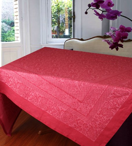 Luxury European Tablecloth 70-inch Square in Linen Cotton, Regale. Color Orchid Smoke Rose