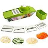 5 in 1 Kompakter Gemüsehobel Mandoline Slicer - Schneiden oder Zerteilen Gemüse Obst sSchnell und gleichmäßig - Best Gemüseschneider Slicer mit 5 verschiedenen Qualitäts Edelstahl Klingen