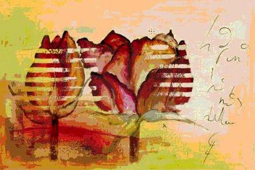 goya戈雅s0045无框手绘花卉油画抽象玫瑰花图片