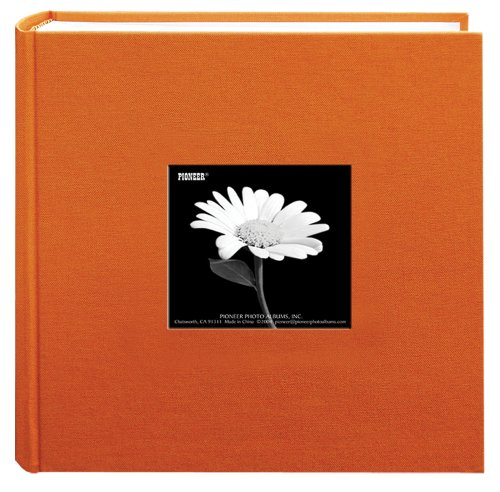 Pioneer 200 Pocket Fabric Frame Cover Photo Album, Tangerine Orange