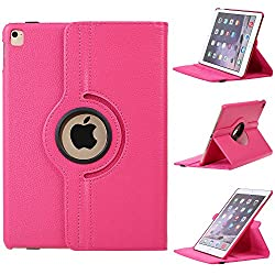iPad Pro 9.7 Case, E LV iPad Pro Case Cover Full Body Protection PU LEATHER Smart Case Cover for APPLE iPad Pro with 1 Stylus - [HOT PINK]