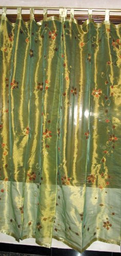 Buy Home Decor 2 Organza Golden Floral Embroidered Sheer
