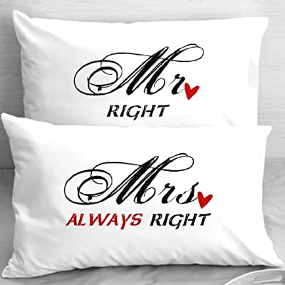 Mr Right Mrs Always Right Heart Couple Anniversary Wedding Pillowcases Set of 2