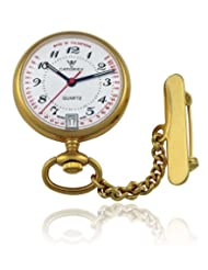 Catorex Men's 853.6.12366.120 Les petites 18k Gold Plated Brass Etched Pulsations Pocket Watch