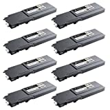 Doitwiser ® Compatible Toner Cartridges 2 Sets For Dell C3760N C3760 3760 C3760CN C3760DN C3765 C3756DNF - 593-11119 593-11120 593-11121 593-11122 - 2 Black 2 Cyan 2 Magenta 2 Yellow -(Extra High Black Yield 11,000 pages and Extra High Colour Yield 9,000