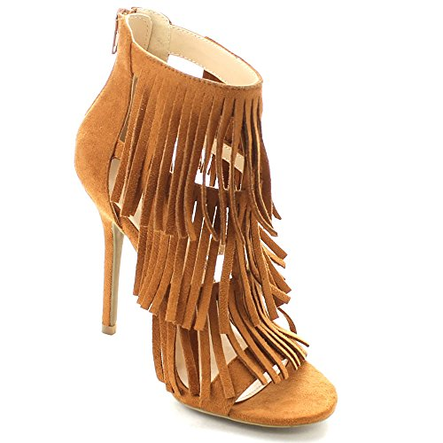 Wild Diva ADELE-177 Women Zip Closure Fringe Dress Heel Sandals, Color:WHISKY, Size:7