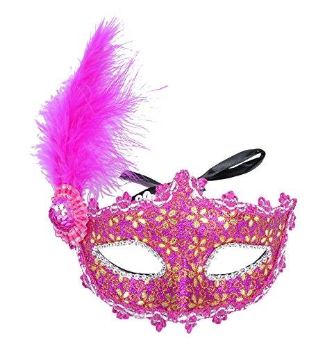 AshopZ Women Venetian Mardi Gras Halloween Sequins Feather Flower Mask Gold Rose