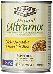 Castor & Pollux Natural Ultramix Chicken, Vegetables and Brown Rice Stew Puppy Food, 13.2 Ounce Cans (Pack of 12)