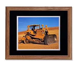 Caterpillar Model D6H Cat Bulldozer Photo Wall Picture B/W Matted Oak Framed Art Print