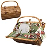 Search : Picnic Time Barrel Picnic Basket, Service for 2, Pine Green