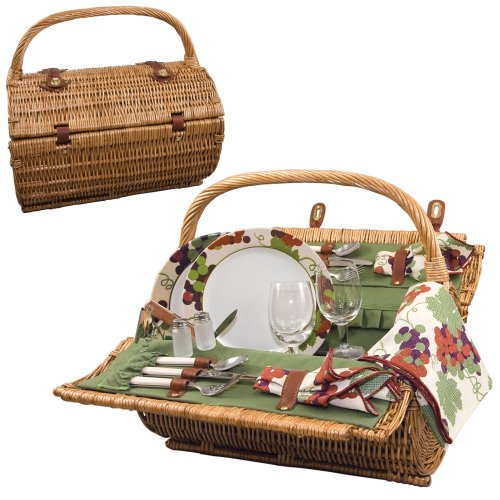 New Picnic Time Barrel Picnic Basket, Service for 2, Pine Green
