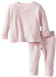 Kushies UnisexBaby Everyday Mocha Layette 2 Piece Set, Pink Dots, 24 Months