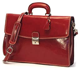 Floto Luggage Milano Brief Leather Laptop Sleeve, Red, Medium