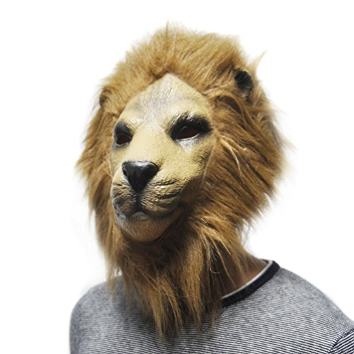 KingMas Halloween Adult Latex Lion head Mask Party Costume Prop