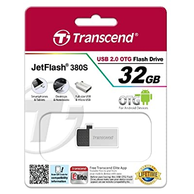 Transcend JetFlash 380 32 GB USB 2.0 OTG Pen Drive, Silver/Black
