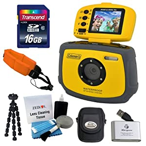 Coleman Xtreme C4WP Anti-Shake & Waterproof Digital Camera with Flip-up Screen (Yellow) + Memory Card Reader, Floating Camera Strap, 7-inch Mini Flexible Spider Tripod, Camera Case, 16GB Class 10 Memory Card & 5 Piece Cleaning Kit