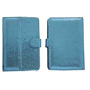 7&Seven G5 BLING FLIP FLAP CASE COVER POUCH CARRY STAND FOR SPICE STELLAR SLATEPAD MI-725 LIGHT BLUE