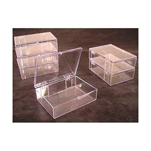 Lot-of-6-Crystal-Clear-Hinged-Plastic-Trading-Card-Storage-Boxes-55-ct-Made-in-the-USA