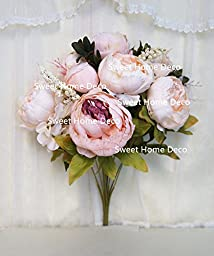Sweet Home Deco 18\'\' Super Soft Blooming Peonies and Hydrangeas Silk Artificial Bouquet (13 Stems/6 Flower Heads) (Ivory/Light Pink)