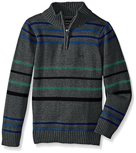Calvin Klein Big Boys' Position Stripe Half Zip Sweater, Charcoal Heather, Large
