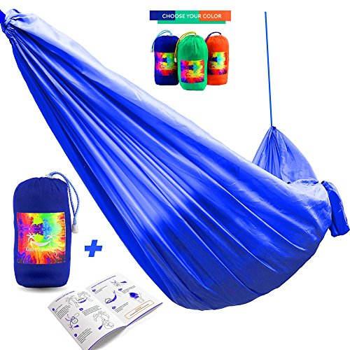 Premium Double Camping Hammock - Lightweight and Strong Portable Parachute Hammock Bed - FREE Long 16 ft. Tree Straps + EXTRA Wind & Sun Protection + Instruction - for Travel, Hiking, Beach, Yard (Tie Dye Tarp compare prices)