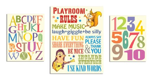 The Kids Room by Stupell Playroom Rules; Alphabet; Numbers 3-pcs. Multi-Size Wall Plaque Set