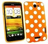 Emartbuy® HTC One X Polka Dots Gel Skin Cover Orange / White