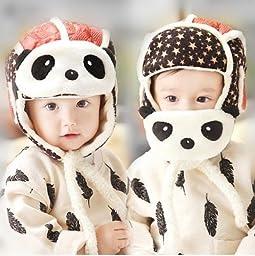 Kosbon Baby Boys Girls Panda Hats Masks 2 In 1 Function Crash Helmet , Winter Outdoor Skiing Earmuffs Ear Flap Hat.(Red)