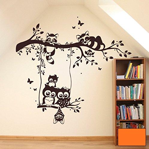 Graz-design-sticker-mural-motif-chouettes-sur-une-branche-waschbren-eulenwandtattoo-m1545-branche
