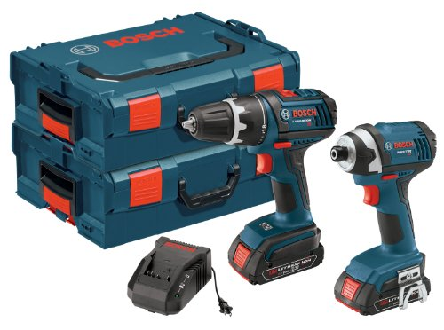 Bosch CLPK234-181L 18-Volt Lithium-Ion 2-Tool Combo Kit with 1/2-Inch Drill/Driver, 1/4-Inch Impact Driver, 2 Batteries, Charger and 2 L-BOXX Cases