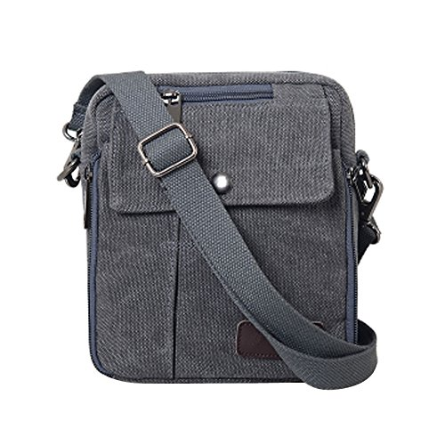 Neu Herren Damen Vintage Canvas Schultertasche Schultasche für Outdoor Canvas Leder Umhängetaschen Vintag Tasche Canvas Rucksack (Grau)