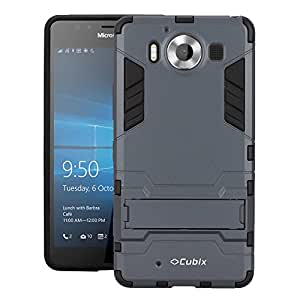 Cubix Robot Series Case Cover for Microsoft Lumia 950 Dual SIM (Navy Blue) Scratch Free Slim Hybrid Defender Bumper shock proof Case Cover With Stand
