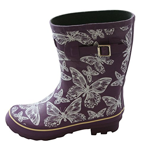 Purple with Butterflies Half Height Rain Boots - Wide Foot - Several Sizes