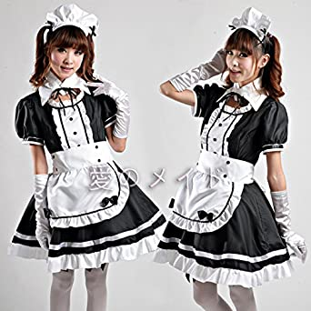 New Japanese Coffee Shop Waitress Cosplay Lolita Costume Dress FULL Set COS68‏