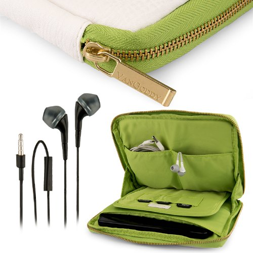 Vangoddy Irista Cover - Snow White Green City Pro Pu Faux Leather Pouch Sleeve Fits Samsung Galaxy Tab Pro 8.4 Tablet + Black Hands-Free Earphones Headphones W/ Microphone